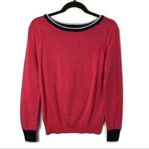 Gap Crew Neck Sweater Pink With Navy Size Small
